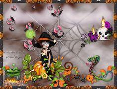 Criação e Arte by Ninh@® Lopes de Sá, 2017, Tutorial Halloween Spels, by Ninh@® Lopes de Sá - Artwork by  Alicia Mujica - Uso sob licença LDO 699