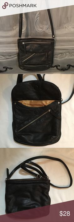 "Carol Miller made in the US leather crossbody Beautiful Handcrafted Carol Miller made in the US Black Leather Crossbody bag. In excellent condition has zip closure and 2 outside zipper compartments with Fold over having magnetic closure..1 inside zip pocket.10"" height 10"" across 4"" deep 28"" strap at its longest(adjustable) Bags Crossbody Bags"
