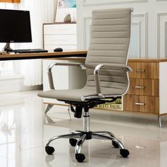 Roundhill Furniture Panoton Chromel Contemporary High Back Office Chair, Taupe, Gray