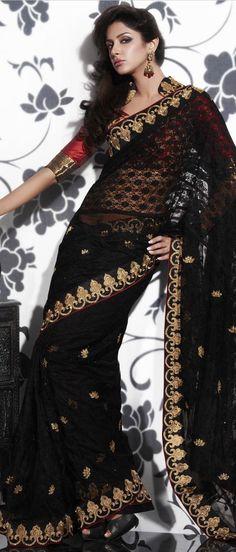 #Black Crochet Net #Saree With #Blouse @ US $128.27