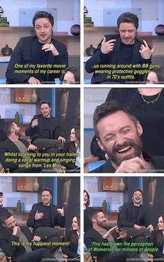 James McAvoy hearing Hugh Jackman singing for Les Miserables on the set of X Men.