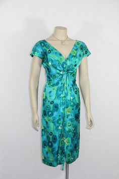 1950s Vintage Dress  Rich Blues Abstract by VintageFrocksOfFancy, $190.00