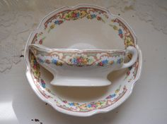vintage cottage floral posy serving bowl and sauce by polkadotrose, $18.00