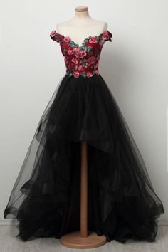 bac9f5612c Black sweetheart high low tulle prom dress
