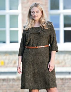 Wool-blend knitted dress in Brown / Gold designed by Zay to find in Category Dresses at navabi.de $70.90