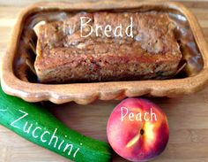 Peach Zucchini Bread - A moist and flavorful bread made with the harvest of the season. Peaches and zucchini come together to make a sweet treat now or from the freezer later. Peach Zucchini Bread, Peach Bread, Zucchini Bread Recipes, Fun Baking Recipes, My Recipes, Sweet Recipes, Dessert Recipes, Favorite Recipes, Recipies