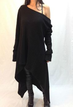 Black Asymmetrical Sweater Top / Oversize Sweater Dress / Long Women Knitted…