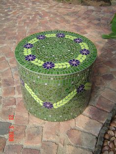 Mosaic drum table by Lisa B's Art studio