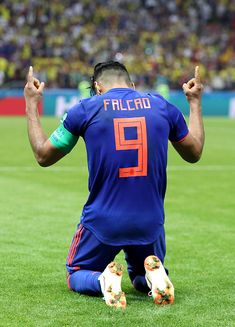 Radamel Falcao of Colombia celebrates after. : World Cup Daily Soccer Skills, Soccer Tips, Soccer Games, Soccer Stuff, Football Jerseys, Football Soccer, Soccer Ball, Colombia Football, Russia 2018