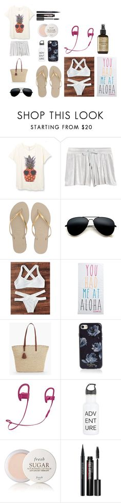"""""""Travel Day #3"""" by grace-thesparklepupperoni ❤ liked on Polyvore featuring Make + Model, Havaianas, Rip Curl, Talbots, Kate Spade, Beats by Dr. Dre, Fresh and Smashbox"""