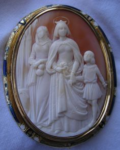 """""""The Holy Queen - Isabel of Portugal""""  Cornelian Shell Cameo in 18k Gold Frame, France,  c. 1859-1870"""