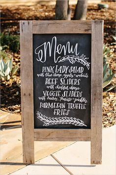chalkboard menu sign @weddingchicks
