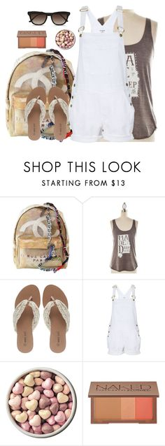"""Untitled #578"" by still-into-malik ❤ liked on Polyvore featuring Chanel, Wet Seal, Frame, Urban Decay, STELLA McCARTNEY, casual, white, simple, backpack and overalls"