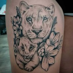 Mommy Tattoos, Dope Tattoos, Baby Tattoos, Color Tattoos, Lioness And Cub Tattoo, Lioness Tattoo Design, Lion Cub Tattoo, Female Lion Tattoo, Mens Lion Tattoo