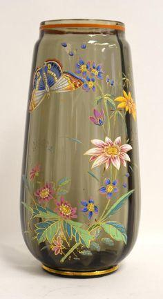 Moser Enameled Glass Vase