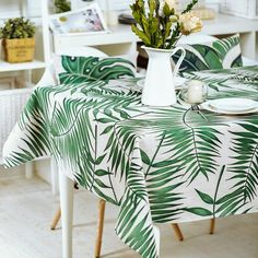 Tropical Palm Leaves Tablecloth