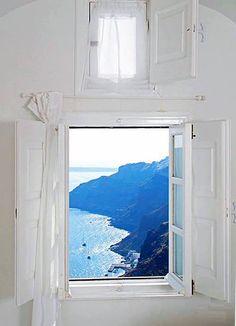 Window in Santorini island, Greece