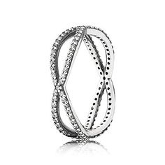 PANDORA entwined silver ring with clear cubic zirconia - perfect for any occasion and outfit. #PANDORAring