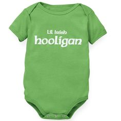 """""""Lil' Irish Hooligan"""" Romper  Spunky and spirited, our romper is made of soft 100% cotton with a three snap closure."""