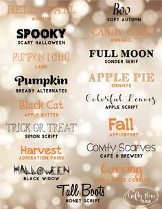 , Free Halloween & Fall Fonts by The Crafty Mom Design Source b. , Free Halloween & Fall Fonts by The Crafty Mom Design Source by taylorstaggs Photoshop Fonts, Photoshop Elements, Halloween Fonts, Fall Halloween, Bullet Journal Halloween, Fall Fonts, Cricut Fonts, Handwriting Fonts, Typography Fonts