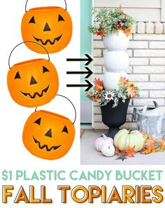 Turn those cheap plastic pumpkin candy buckets into a gorgeous fall topiary. Che… Turn those cheap plastic pumpkin candy buckets Fall Topiaries, Pumpkin Topiary, Diy Pumpkin, Fall Pumpkin Crafts, Easy Fall Crafts, Fall Diy, Diy Crafts, Felt Crafts, Dibujo
