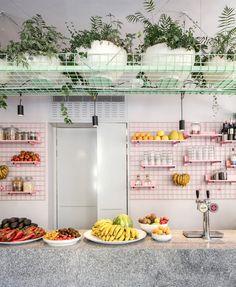 Amit Studio enlivens Tel Aviv cafe Bana with pink windows and metal racks - Bana by Amit Studio. Informationen zu Amit Studio enlivens Tel Aviv cafe Bana with pink windows and -