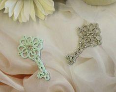 Set of 2 tatting lace earrings and necklace pendant di TheKimAndI