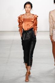 Runway Report NYFW | Spring 2017 RTW | Marissa Webb | Orange silk ruffle sleeve top with black leather high-waisted cropped pants | The Luxe Lookbook