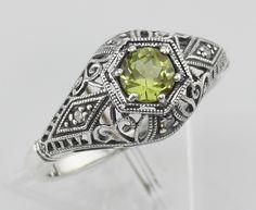 Art Deco Style Peridot Filigree Ring w/ 4 Diamonds - Sterling Silver $121.50 www.silverminegifts.com