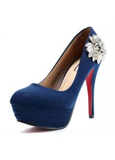 USD$22.68 Kvoll Sweet Round Toe Rhinestone Flower Pattern Platform Suede Navy Blue High Heels at martofchina.com- For more amazing finds and inspiration visit us at http://www.brides-book.com/#!brides-book-outlets-clothing/c173b