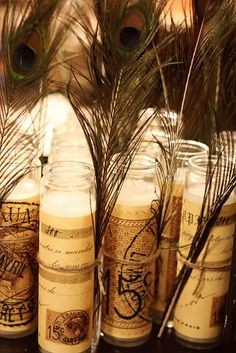 Pretty candles-no instructions.  Can get theses candles at the Dollar Store and embellish