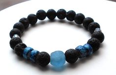 Mens Blue Krobo Stone and Lava Rock Bracelet by BlueStoneRiver, $25.95