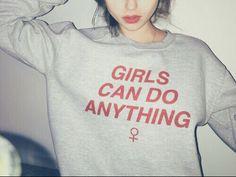 Girls Can Do Anthing Grey Crewneck - Freshtops Marketplace