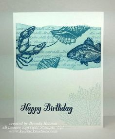 SU! By the Tide and Bring on the Cake stamp sets; Midnight Muse, Marina Mist, Island Indigo, and Soft Sky ink on Whisper White - Brenda Keenan (video instructions on YouTube).