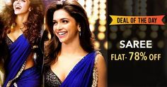 Deepika Padukone Blue Chiffon Saree at 78% Off.
