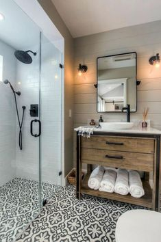 Cabinet stain color-downstairs bath and bar Lake House Bathroom, Washroom, Small Bathroom, Master Bathroom, Bathroom Ideas, Dream Bathrooms, Beautiful Bathrooms, Bathroom Renovations, Home Remodeling