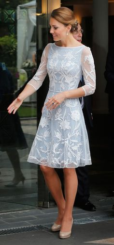 Kate Middleton wearing a light blue lace dress. LOVE her style!