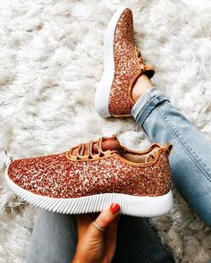 Rose Gold Glitter Shoes - Glitter Sneakers - Sparkly Tennis Shoes  Order here:  www.jayandgrayboutique.com