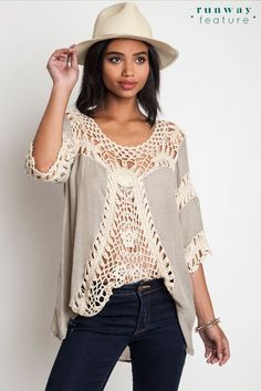 Crochet Tunic - Taupe - Knitted Belle Boutique  - 1