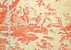 French toile fabric neoclassic orange Double wide from Brick House Fabric: Novelty Fabric