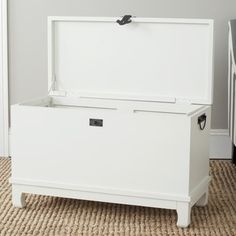@Overstock.com - Safavieh Wesley Off White Chest - Fold up those heavy winter blankets and store them in this modern white chest. The sleek finish and simple design helps this piece blend into any guest room or bedroom. Popular wood construction ensures that this chest lasts through the seasons.  http://www.overstock.com/Home-Garden/Safavieh-Wesley-Off-White-Chest/7827807/product.html?CID=214117 $163.79