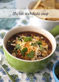 Slow cooker chicken enchilada soup... best soup ever!