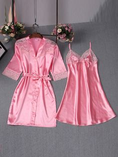 Simple Sexy Lace Lace-Up Bowknot Night Dress and Robe>>Material:Polyester;Set Type:Robe,Nightgown; Dress Length:Above Knee
