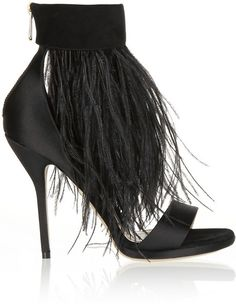 Paul Andrew Sofia feather-trimmed suede and satin sandals Satin Shoes, Suede Shoes, Shoe Boots, Suede Sandals, Heeled Sandals, Shoes Sandals, Hot Shoes, Black Shoes, Black Sandals