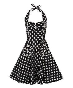 Look what I found on #zulily! Black & White Dahlia Dot Halter Dress - Women by Voodoo Vixen #zulilyfinds