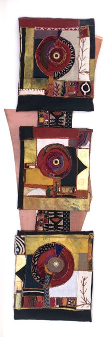 "Download Totem Minuet by Alice Vandervedden Description: 20"" X 60"" framed; textiles (embellished, embroidered, woven and painted, including African mud cloth), copper, found objects"