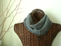 Gray Infinity Scarf Cashmere KITTEN GRAY Grey Upcycled Felted Cashmere Scarf by WormeWoole