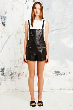 Veda Rian Leather Playsuit in Black