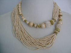 Spectacular HUGE Multiple-Strand 22 Strands Ivory Cream Colored Glass Seed Beads With Brass Spacers Bohemian Torsade Perfect Summer Necklace
