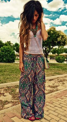 Super-cute, psychedelic pj pants; fantastic turquoise necklace; unbelievably thick, wavy ombre hair